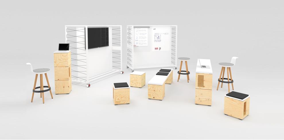 """Pixel bene espace de travail modulaire /><br /> Pour allez plus loin, vous pouvez associer d'autres éléments comme des banquettes et tables hautes pour créer des espaces distincts au sein de cette bulle de """"créativité"""".</p> <aside class="""